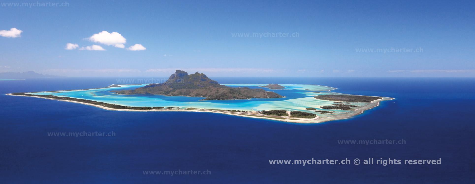 Sicht von Tahiti Insel Bora Bora